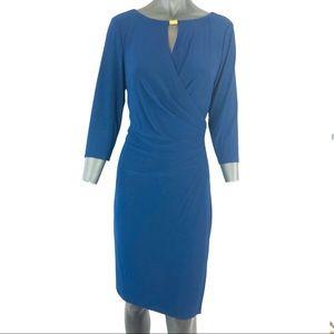 Lauren Ralph Lauren Faux Wrap Navy Blue Dress
